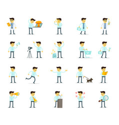 set cartoon male search and dialogues working vector image