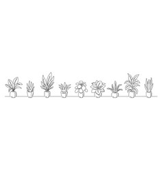 Set continuous line drawing a flowers vector