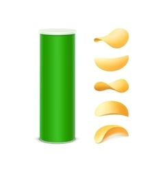 Set green box container tube with potato chips vector