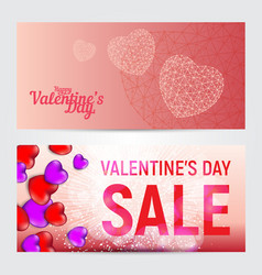 set happy valentines day greeting cards or vector image