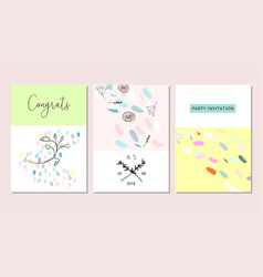 Set of artistic hand drawn creative greeting cards vector