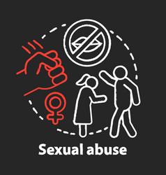 Sexual abuse chalk concept icon domestic violence vector