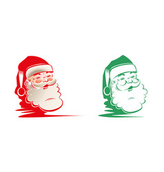 Silhouette of head faces of santa claus set vector