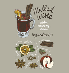 Sketch drawing set mulled wine ingredients vector