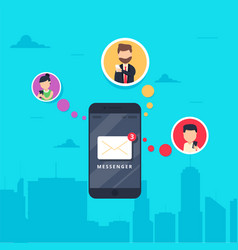 Smart phone with messenger app flat vector