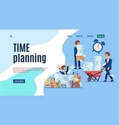 time management landing stop unorganized work web vector image