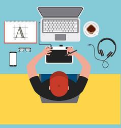 top view young man designer working computer tools vector image
