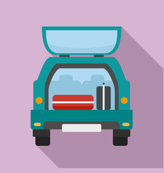 Travel bags in car icon flat style vector