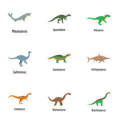 View of lizard icons set cartoon style vector