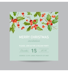 Vintage holly berry christmas card - winter vector