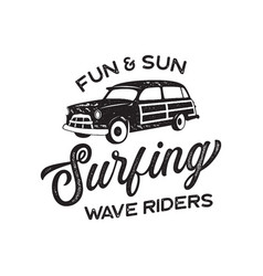 vintage surf logo print design for t-shirt and vector image