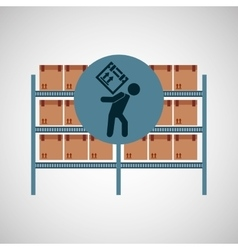 Warehouse box worker design icon vector