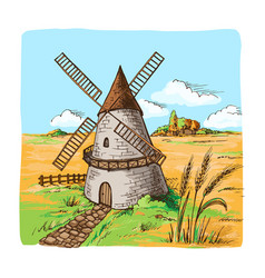 Watercolor windmill with wheat fields vector