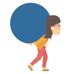 Woman carrying big ball vector image