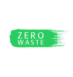 Zero waste text title with worn effect on green vector