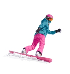 a young girl snowboarder vector image vector image