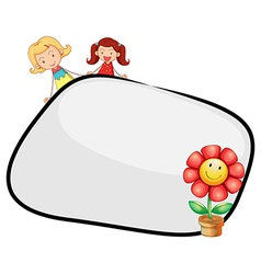 An empty template with two girls and a flower vector image vector image