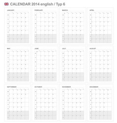 Calendar 2014 English Type 6 vector image vector image