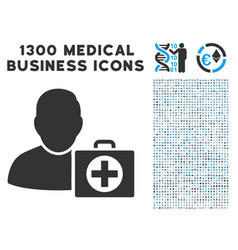 doctor icon with 1300 medical business icons vector image vector image