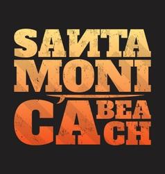 santa monica beach tee print with surfboard vector image