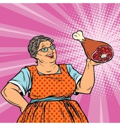 Smiling retro old woman and meat leg vector image