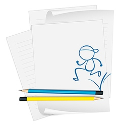 A paper with a sketch of a man running vector image vector image