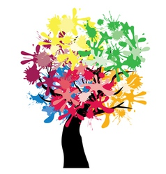 abstract tree ink color vector image