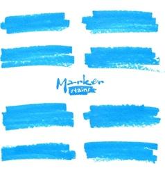Blue marker stains set vector image vector image