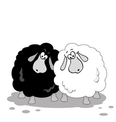 cartoon sheep black and white vector image