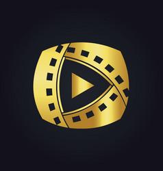 play film media technology gold logo vector image