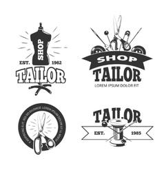 Tailor shop labels badges logos emblems vector image vector image