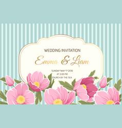 wedding invitation anemone hellebore pink flowers vector image vector image