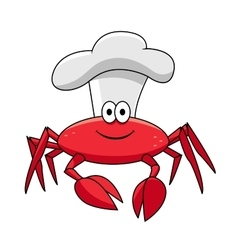 Cartoon smiling crab chef in white cook hat vector image vector image