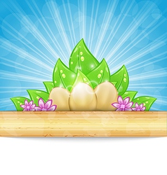 Easter background with eggs leaves flowers vector image vector image