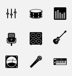 flat monochrome music gear icon set pattern ready vector image
