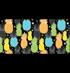 fun pineapples repeat seamless pattrern in vector image