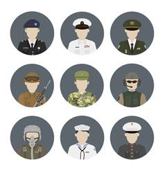 Military avatars set vector image vector image