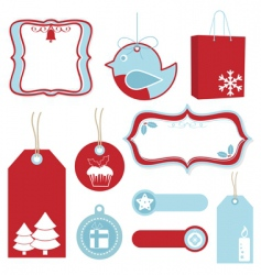 red and blue Christmas tags vector image