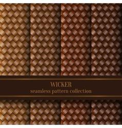 Seamless Wicker Pattern Set vector image
