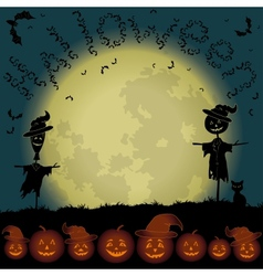 Halloween landscape moon and pumpkins vector image vector image