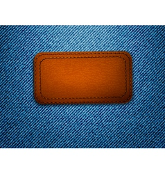 Leather label on jeans background vector