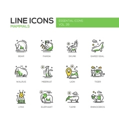 Mammals - line design icons set vector image vector image