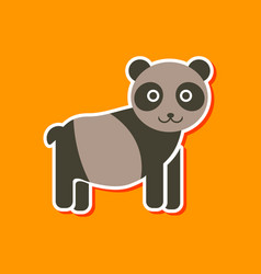 paper sticker on stylish background panda bear vector image vector image