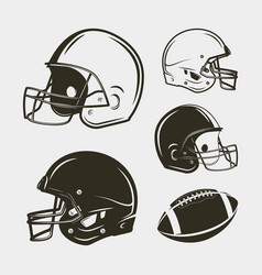 set of american football equipment and gear vector image