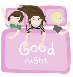 the kids sleep in the bedroom pink vector image vector image