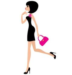 woman in a black dress vector image vector image