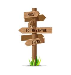 wooden arrow direction signboard vector image vector image
