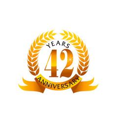 42 years ribbon anniversary vector