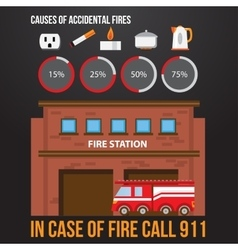 a fire station and fire engine vector image
