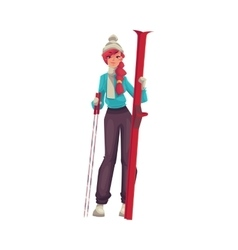 Adult red-haired beautiful woman standing with ski vector image